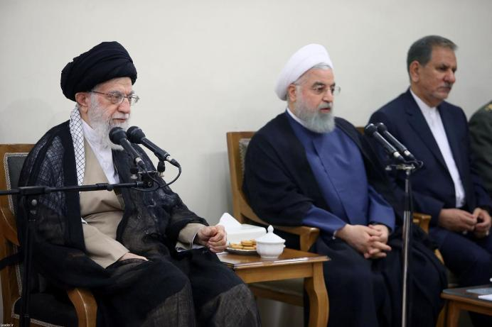 FILE PHOTO: Ali Khamenei (L) meets with Hassan Rouhani(C) and Eshaq Jahangiri(L).