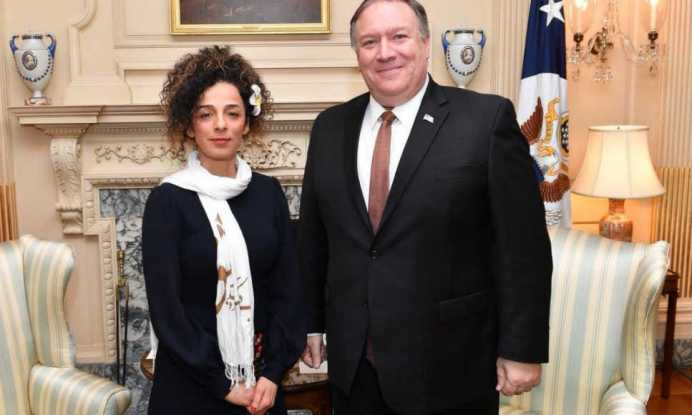 Mike Pompeo and Masih Alinejad.
