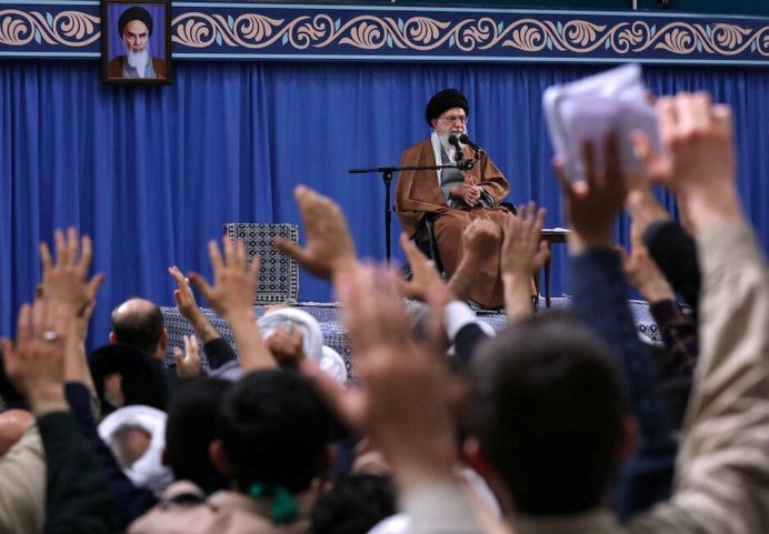 FILE PHOTO: Iranian Supreme Leader Ayatollah Ali Khamenei delivers a speech during a meeting with Iranians from the East Azerbaijan province, in Tehran, Iran February 18, 2019. REUTERS