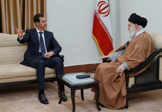 Syria's President Bashar al-Assad meets with Iranian Supreme Leader Ayatollah Ali Khamenei in Tehran, Iran in this handout released by SANA on February 25, 2019. Reuters
