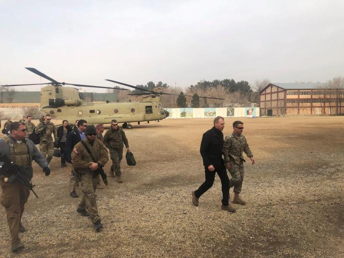 Acting U.S. defense secretary Patrick Shanahan arrives in Kabul, Afghanistan February 11, 2019. REUTERS/Idrees Ali