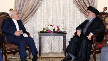 FILE PHOTO: Lebanon's Hezbollah leader Sayyed Hassan Nasrallah meets with Iran's Foreign Minister Mohammad Javad Zarif. REUTERS./