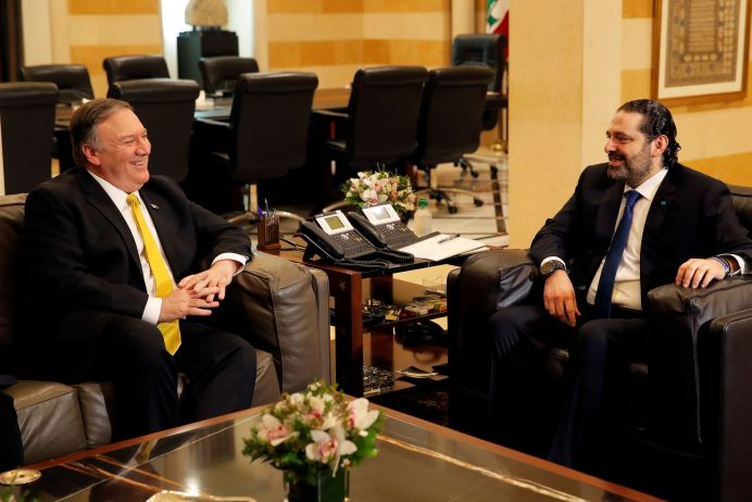 U.S. Secretary of State Mike Pompeo meets with Lebanese Prime Minister Saad al-Hariri at the governmental palace in Beirut, Lebanon March 22, 2019. REUTERS/Jim Young/Pool