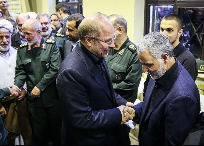 FILE PHOTO: Ghasem Soleimani (R) and Mohammad Bagher Ghalibaf (L). Author: Hamed Malekpour. This file is licensed under the Creative Commons Attribution 4.0 International license.