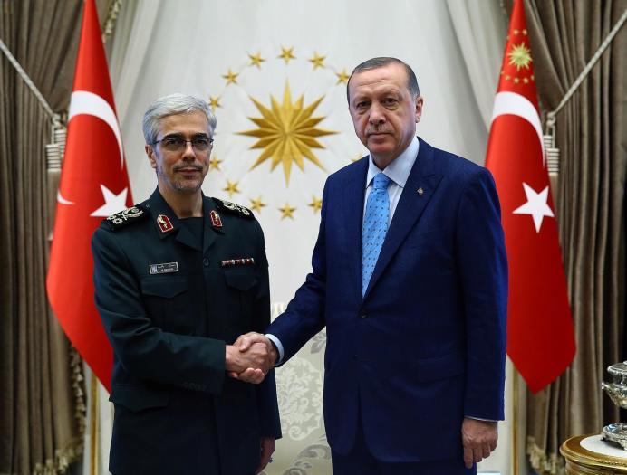 FILE PHOTO: Turkish President Tayyip Erdogan meets with Iran's Chief of Staff Major General Mohammad Baqeri in Ankara, Turkey . REUTERS
