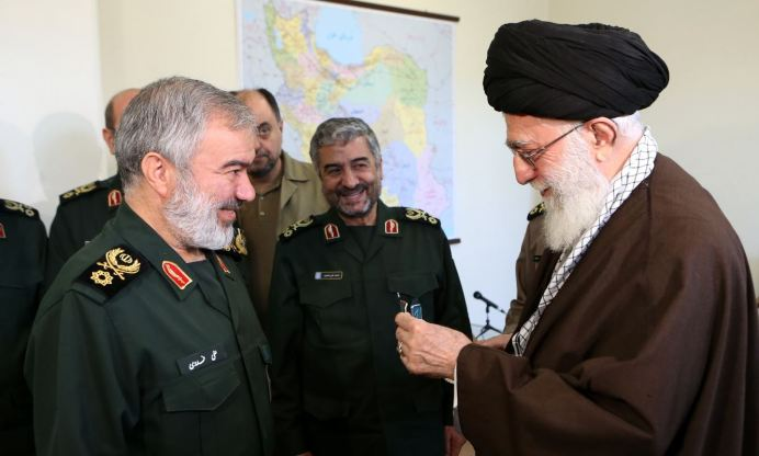 FILE PHOTO: Ali Khamenei with Ali Fadavi.