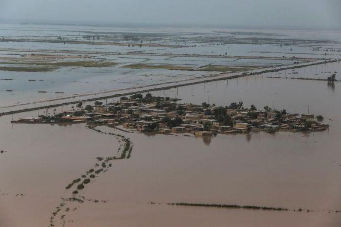 An aerial view of the flood in Khuzestan province, Iran, April 5, 2019. Picture taken April 5, 2019. Mehdi Pedramkhoo/Tasnim News Agency/via REUTERS