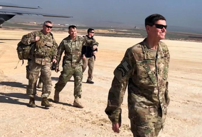 U.S. Army General Jospeh Votel, head of Central Command, visits an airbase at an undisclosed location in northeast Syria, February 18, 2019. REUTERS/Phil Stewart