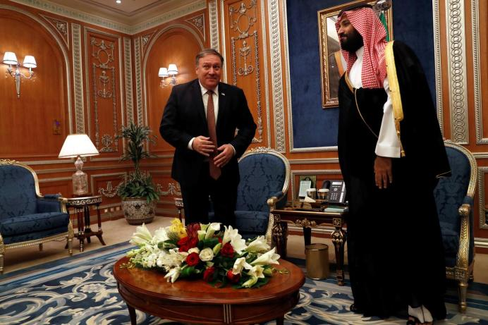 FILE PHOTO: U.S. Secretary of State Mike Pompeo meets with the Saudi Crown Prince Mohammed bin Salman during his visits in Riyadh, Saudi Arabia, October 16, 2018.