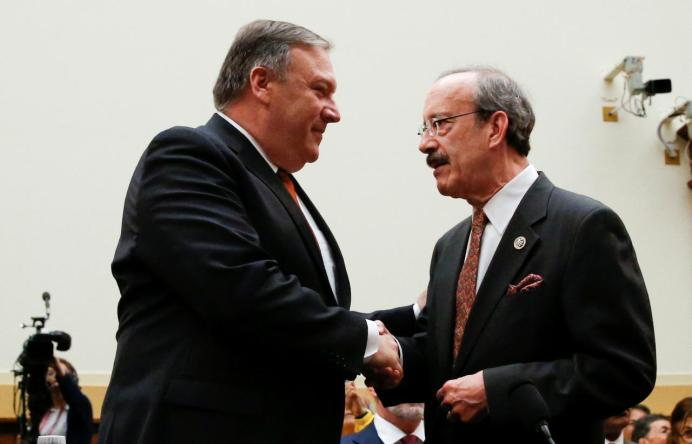 FILE PHOTO: U.S. Secretary of State Mike Pompeo shakes hands with Eliot Engel (D-NY) in Washington, U.S. REUTERS/Leah Millis