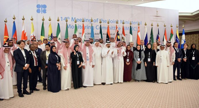 FILE PHOTO: Saudi Arabian Energy Minister Khalid al-Falih, and Mohammed Barkindo, Secretary General of OPEC, pose for a family photo with employees after the conference of the OPEC 14th Meeting of the Joint Ministerial Monitoring Committee in Jeddah, Saudi Arabia, May 19, 2019. REUTERS/Waleed Ali