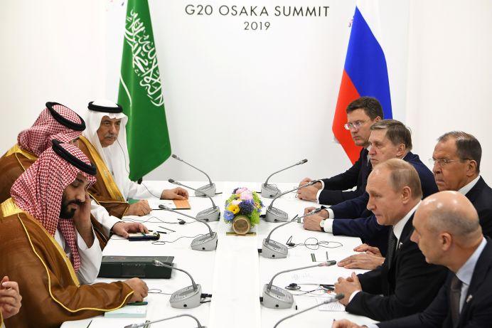 Saudi Arabia's Crown Prince Mohammed bin Salman attends a meeting with Russia's President Vladimir Putin on the sidelines of the G20 Summit in Osaka, Japan June 29, 2019. Yuri Kadobnov/Pool via REUTERS
