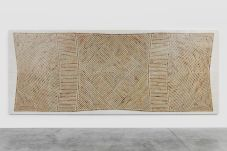 Hossein Valamanesh, Lotus Vault #2 , 2013 Lotus leaves on paper on plywood 210 x 525 cm (82¾ x 206¾ in). Courtesy the artist and Grey Noise, Dubai.