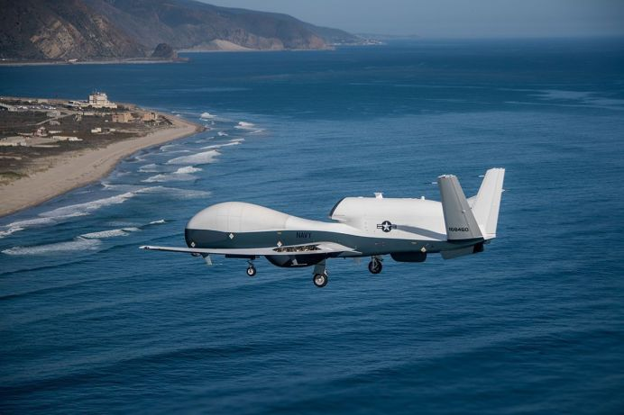 An MQ-4C Triton flies over Point Mugu, Calif. in May 2018. U.S. Navy photo.