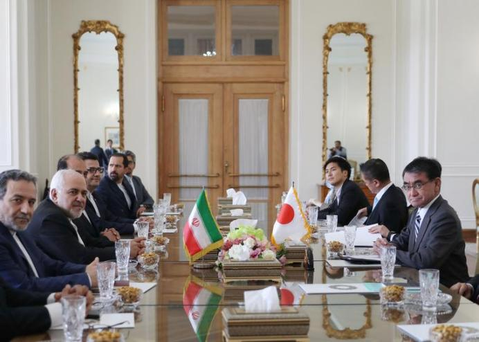 Iranian Foreign Minister Mohammad Javad Zarif meets with Japanese Foreign Minister Taro Kono and officials in Tehran, Iran June 12, 2019. Hamed Malekpour REUTERS