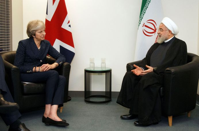 FILE PHOTO: British Prime Minister Theresa May meets with Iranian President Hassan Rouhani on the sidelines of the 73rd session of the United Nations General Assembly at U.N. headquarters in New York, U.S., September 25, 2018. Jason DeCrow/AP/Pool via REUTERS