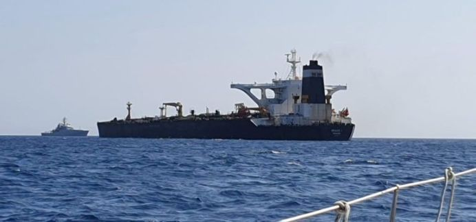 STILL PHOTOGRAPH OF SUPERTANKER GRACE 1 DETAINED IN GIBRALTAR ON SUSPICION OF CARRYING CRUDE OIL TO SYRIA