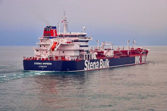 FILE PHOTO: Undatedhandout photograph shows theStenaImpero, a British-flagged vessel owned byStenaBulk, at anundisclosedlocation. REUTERS