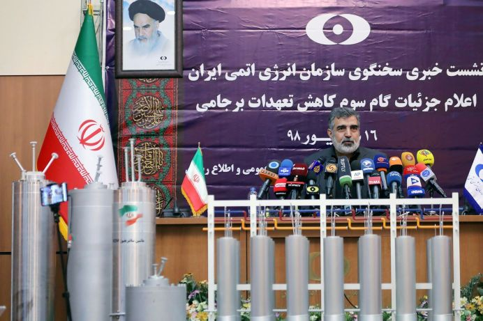 FILE PHOTO: Behrouz Kamalvandi, spokesman for the Atomic Energy Organization of Iran speaks during news conference in Tehran, Iran. REUTERS./