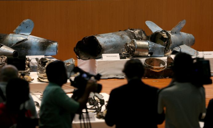 FILE PHOTO: Remains of the missiles which Saudi government says were used to attack an Aramco oil facility are displayed during a news conference in Riyadh, Saudi Arabia September 18, 2019. REUTERS/Hamad I Mohammed/File Photo