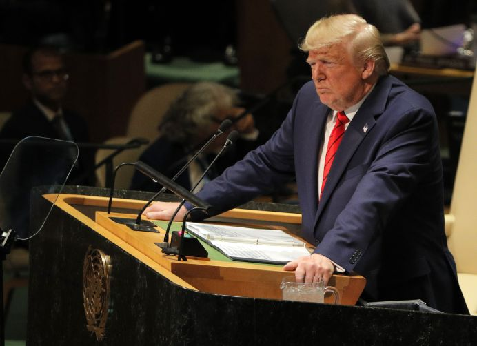 U.S. President Donald Trump addresses the 74th session of the United Nations General Assembly at U.N. headquarters in New York City, New York, U.S., September 24, 2019. REUTERS/Brendan Mcdermid