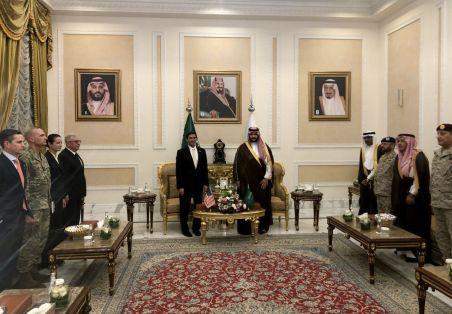 U.S. Defense Secretary Mark Esper is welcomed by Saudi Arabia's Deputy Defense Minister Prince Khalid bin Salman, in Riyadh, Saudi Arabia October 21, 2019. REUTERS/Idrees Ali