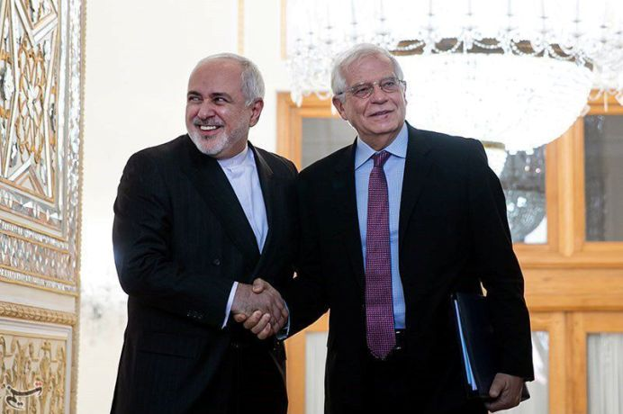 FILE PHOTO: Iranian Foreign Minister Javad Zarif shakes hands with High Representative of the EU for Foreign Affairs and Security Policy and Vice-President of European Commission Josep Borrell in Tehran, Iran, February 3, 2020. REUTERS./