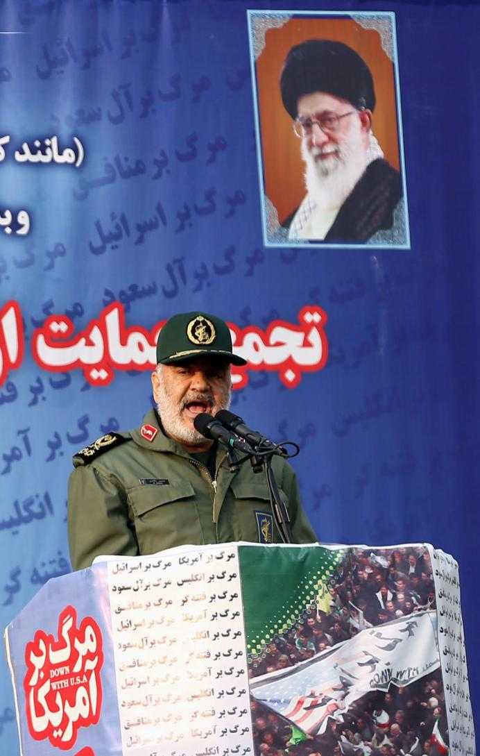 FILE PHOTO: The commander of the Revolutionary Guards, Major General Hossein Salami, delivers a speech for people who attend a demonstration in Tehran, Iran November 25, 2019. Nazanin Tabatabaee/WANA (West Asia News Agency) via REUTERS