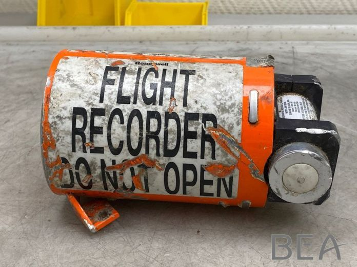 A view of the flight recorder from the Iranian missile-downed Ukraine International Airlines (UIA) Flight PS752 Boeing 737 jet, as work begins at the BEA investigation bureau in Le Bourget, France July 20, 2020. REUTERS./