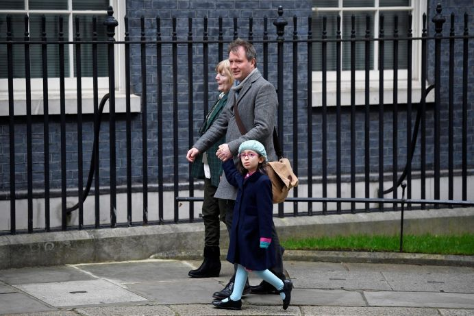 FILE PHOTO: Richard Ratcliffe, the husband of Nazanin Zaghari Ratcliffe, his daughter Gabriella and his mother arrive at Downing Street in London, Britain, January 23, 2020. REUTERS/Toby Melville