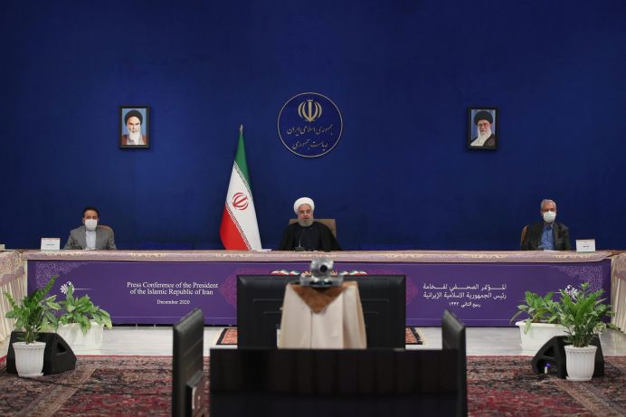 Iranian President Hassan Rouhani speaks during a news conference in Tehran, Iran December 14, 2020. REUTERS/FILE PHOTO./