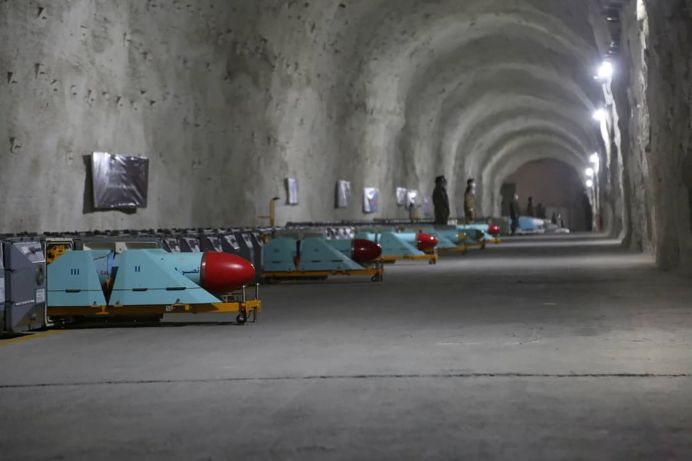 Missiles are seen at an underground missile site of Iran's Revolutionary Guards at an undisclosed location in the Persian Gulf, in this picture obtained on January 8, 2021. REUTERS./