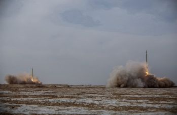 The Islamic Revolution Guards Corps (IRGC) test Siccil, Imad and Kadir ballistic missiles during a military drill at Great Salt Desert, in the middle of the Iranian Plateau, Iran, January 16, 2021.REUTERS./