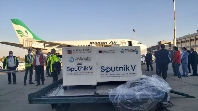 The packages of the first shipment of Russia's Sputnik V vaccine against the coronavirus disease (COVID-19) are seen at Imam Khomeini Airport in Tehran, Iran February 4, 2021. REUTERS./