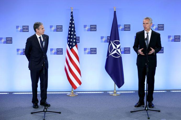 U.S. Secretary of State Antony Blinken and NATO Secretary General Jens Stoltenberg attend a news conference at NATO's headquarters in Brussels, Belgium April 14, 2021 Kenzo Tribouillard/Pool via REUTERS