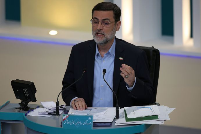 Presidential candidate Amir-Hossein Ghazizadeh Hashemi attends an election debate at a television studio, in Tehran, Iran June 12, 2021. REUTERS./