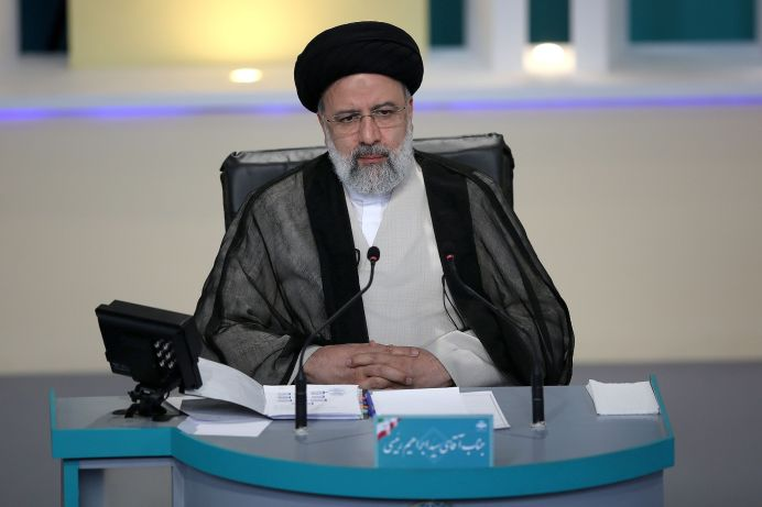 Presidential candidate Ebrahim Raisi attends an election debate at a television studio, in Tehran, Iran June 12, 2021. REUTERS./