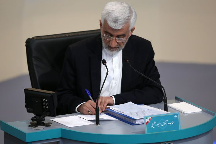 Presidential candidate Saeed Jalili attends an election debate at a television studio, in Tehran, Iran June 12, 2021.REUTERS./