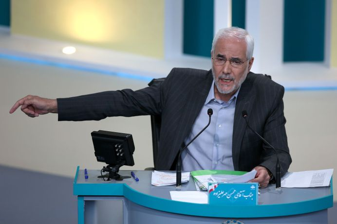 Presidential candidate Mohsen Mehralizadeh attends an election debate at a television studio, in Tehran, Iran June 12, 2021.REUTERS./