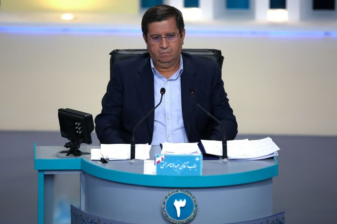 Presidential candidate Abdolnaser Hemmati attends an election debate at a television studio, in Tehran, Iran June 12, 2021. REUTERS./