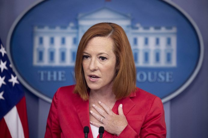 White House Press Secretary Jen Psaki holds a news conference in the James Brady Press Briefing Room of the White House, in Washington, DC, USA, 28 June 2021. Psaki discussed US airstrikes in Syria and Iraq against Iran-backed militias, and US foreign aid in Latin America and elsewhere through millions of COVID-19 vaccine doses.