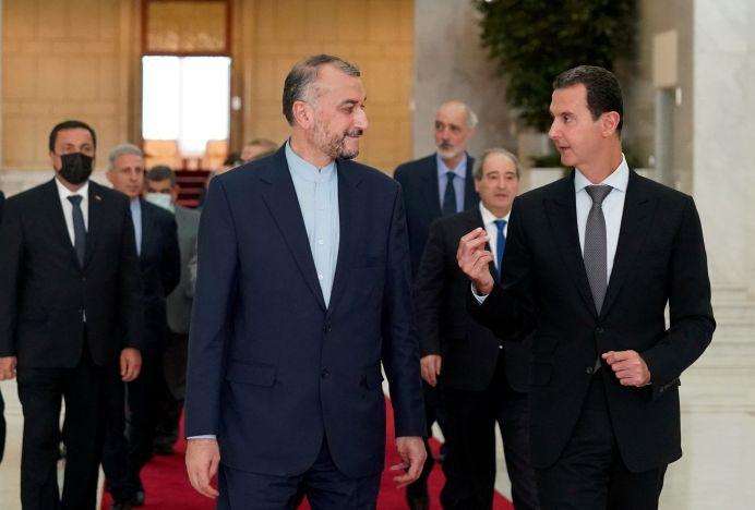 Syria's President Bashar al-Assad meets with Iran's foreign minister, Hossein Amir Abdollahian, in Damascus, Syria. REUTERS./