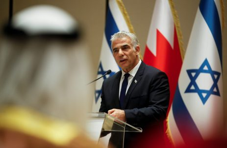 Israeli Foreign Minister Yair Lapid speaks during a news conference, Manama, Bahrain, September 30, 2021. REUTERS/Hamad I Mohammed