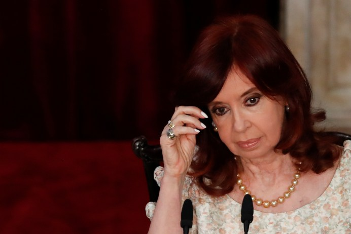 FILE PHOTO: Argentina's Vice President Cristina Fernandez de Kirchner looks on as President Alberto Fernandez (not pictured) delivers his State of the Nation speech that marks the opening 2021 session of Congress, in Buenos Aires, Argentina March 1, 2021. Natacha Pisarenko/Pool via REUTERS