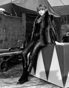 17th November 1967: Singer Marianne Faithfull wearing black leather motorcycling 'skins' and a fur jacket as she awaits her call at Shepperton Studios. (Photo by Keystone/Getty Images)