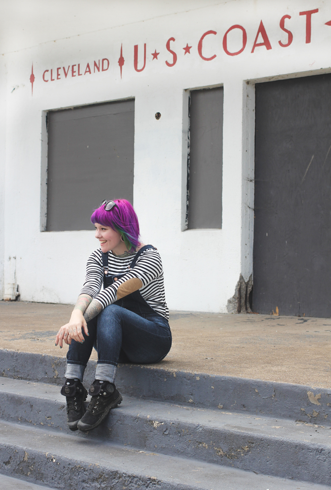 the dainty squid, purple hair, palladium boots