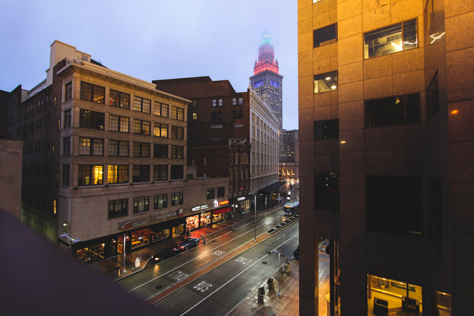 cleveland, terminal tower, lights,