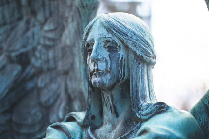 crying angel, headstone, lake view cemetery, angel of death victorious