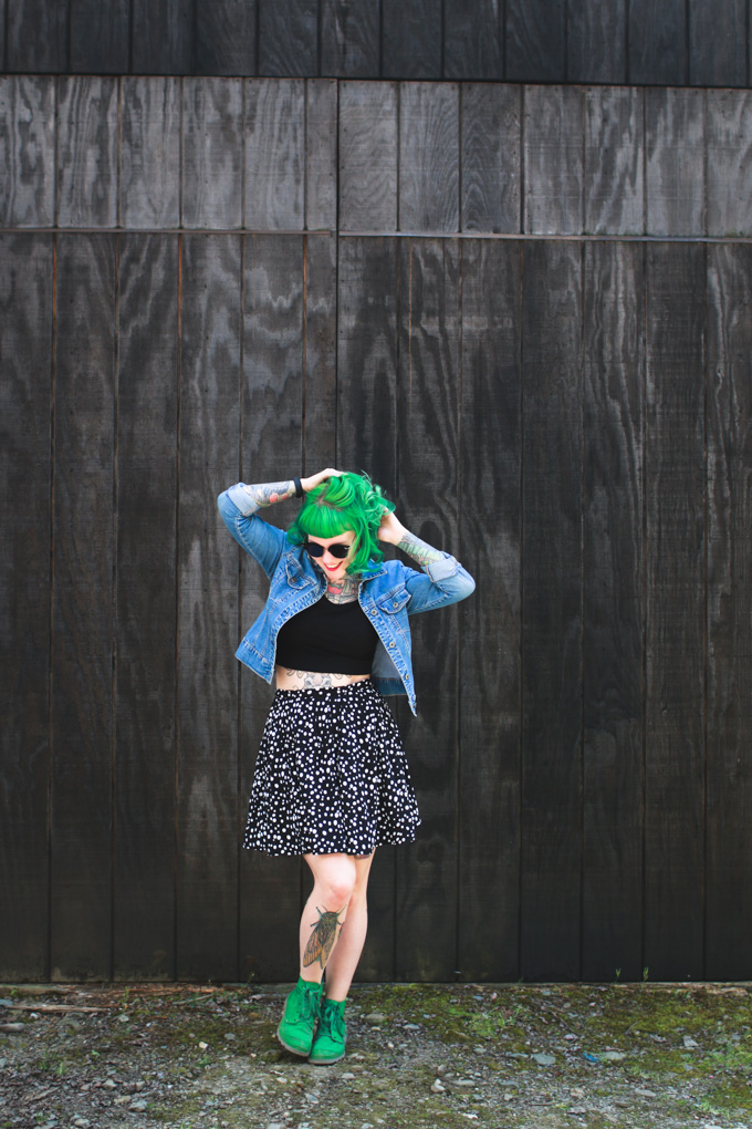 cleveland blog, fashion blog, what i wore, jean jacket, green hair