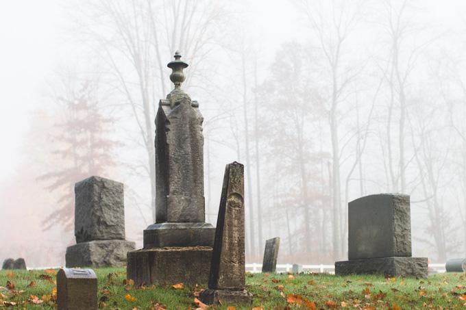 fog, headstones, hartsgrove ohio, cemetery